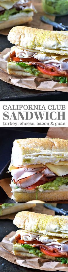 My California Club Sandwich recipe is a simple sandwich loaded with fresh ingredients to maximize flavor. Sandwiched inside a soft deli roll and piled high with roasted turkey and havarti cheese atop a bed of fresh greens, savory bacon, fresh guacamole and tomatoes, this California Club Sandwich will have you dreaming of lunch everyday!