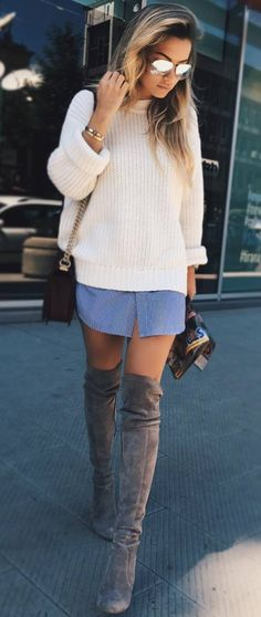 perfect ootd / white sweater + denim skirt + over the knee boots