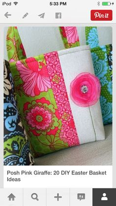 fabric and floral easter basket