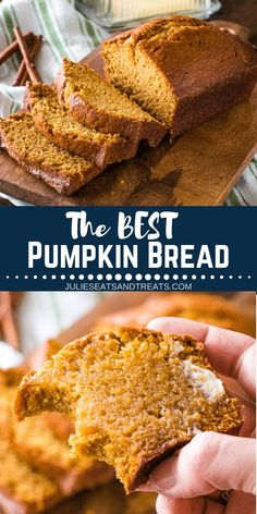 This is the best pumpkin bread ever! This is the best pumpkin bread ever! Tender, moist and delicious and loaded with warm spices. It's just like your Mom used to make! This Classic Pumpkin Bread recipe will make you two loaves to snack on all fall! Fall Desserts, Delicious Desserts, Dessert Recipes, Yummy Food, Fall Snacks, Dessert Bread, Appetizer Dessert, Christmas Desserts, Recipes Dinner