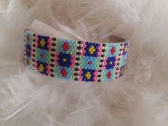 bracelet manchette tissé avec des perles miyuki très coloré : Bracelet par yedura