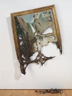 Valerie Hegarty (American, born 1967). Fallen Bierstadt, 2007. Foamcore, paint, paper, glue, gel medium, canvas, wire, wood, 70 x 50 x 16 3/4 in. (177.8 x 127 x 42.5 cm). Brooklyn Museum, Gift of Campari, USA, 2008.9a-b. © Valerie Hegarty