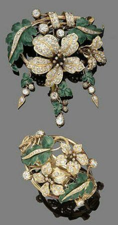A diamond and enamel brooch and bracelet suite,  Ca. 1860  The brooch designed as a foliate spray set throughout with cushion-shaped and old brilliant-cut diamonds, amongst green guilloché enamel leaves, suspending three cushion-shaped diamond and guilloc www.bionto.com