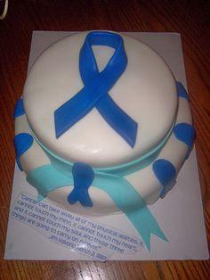 Blue cancer ribbon cake I made for Relay for Life celebration.