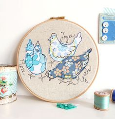 Chickens Embroidery Hoop Picture