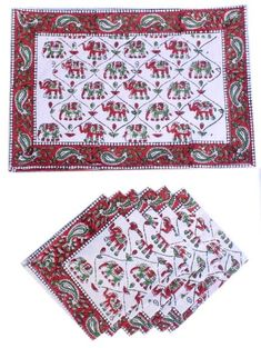 Block Printed Table Placemat and Napkin set - Block Printed Napkins - Block Printed Place mats - Dining and Table Linens - Set of 12 Pc Printed Napkins, Cotton Napkins, Cloth Napkins, Napkins Set, Table Napkin, Cotton Mats, Decorative Napkins, Print Place, Wedding Napkins