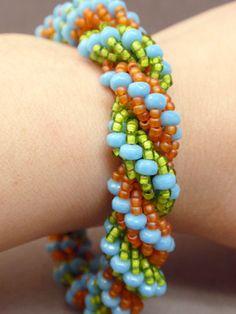 Fiesta Dutch Spiral Bracelet by beadquest on Etsy, $29.95