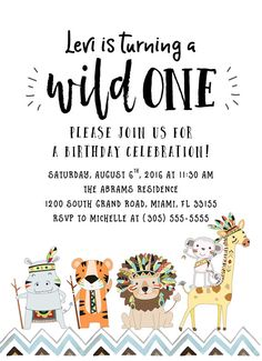 Birthday party invitations wild one by lisa cersovsky party id wild one birthday invitation tribal safari birthday stopboris Choice Image