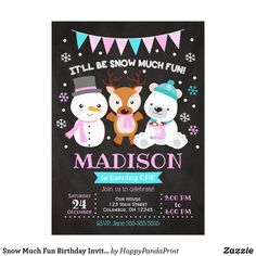 Snow Much Fun Birthday Invitation Girl