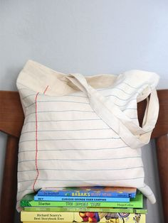 """DIY Notebook Sewn Canvas Tote Bag (embroider old-school handwriting, maybe with stencil to """"trace"""" like the old workbooks?)"""