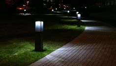 Amazing light effect by Arcluce bollard Gothic 180 with LED