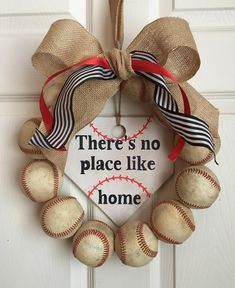 There's no place like home baseball wreath by DoorsGoneWild on Etsy https://www.etsy.com/listing/511800922/theres-no-place-like-home-baseball