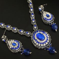 Shop for traditional Indian and Mughal Jewelery India Jewelry, Earring Set, Royal Blue, Jewelery, Indian, Bracelets, Silver, Fashion, Jewlery