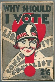 This booklet was designed to explain to newly-liberated young flappers why they should vote and who they could choose (prior to 1928's Equal Franchise Act, only women over 30 could vote). At  two shillings and sixpence, this is an expensive booklet, and is clearly aimed at wealthy, fashionable bright young things (to put it into perspective the average weekly wage for an average family was £1, 1 shilling, and 11 d[old pence] for a 50 hour six-day workweek [old money: 20 shillings=£1]) 1929…