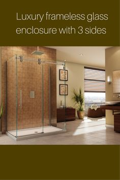 """Now this is a luxury glass enclosure with an open feeling. The 1/2"""" thick glass and heavy duty hardware make it a nice addition to an upscale home. The acrylic shower base comes in 48 x 36, 60 x 36 and 60 x 42 sizes and the door slides for easy entry. For more information - http://innovatebuildingsolutions.com/products/bathrooms/fleurco-glass-shower-enclosures"""