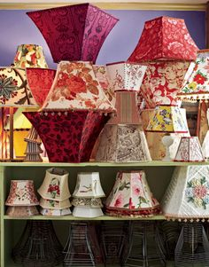 Have any ugly, worn out shades? Tear off the old and apply the new!You can do this! One-of-a-kind lampshades for every room in the house. Making one requires little more than a favorite fabric, a wire frame, styrene panels, and some basic craft supplies.