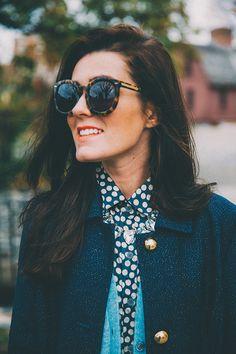 be5d2056a19 Classy Girls Wear Pearls styling Oak73 s Blue Lace Satchel and Ikat Silk  Shirt. www.oak73.com