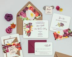 Rustic Modern Floral Wedding Invitations Autumn by Bdesignspaper