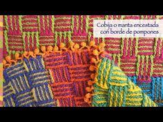 #Crochet: ¡Cobija o manta llena de color tejida en punto cesta con borde de pompones! Video tutorial del paso a paso :)