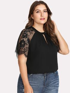 aed6a0b569f Keyhole Pleated Neck Lace Panel Top -SheIn(Sheinside) Plus Size Shirts