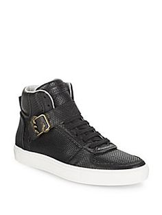 ROBERTO CAVALLI Snake-Embossed Leather High Top Sneakers. #robertocavalli #shoes #sneakers