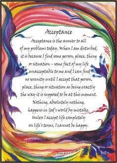 aa acceptance prayer   Heartful Art Online: Acceptance poster (sm) - AA