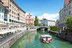 The river flowing through Ljubljana