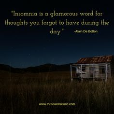 """Insomnia is a glamorous word for thoughts you forgot to have during the day."" -Alain De Botton"