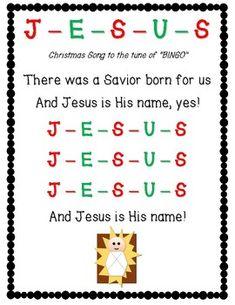 Christmas Jesus Bingo Game & Song Lyrics for Christian Bible Learning