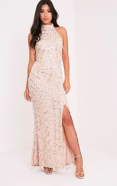 Nude Premium Sequin Fishtail Maxi DressShimmer and sparkle this season in this showstopper of a d...
