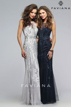 A sparkling sequin prom dress with high illusion neckline.