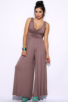 #clubwear21.com #dress #fashion Mocha ruched bodice wide leg party jumpsuit-$33.00