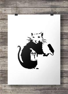 Banksy Rat - Printable wall art INSTANT DOWNLOAD digital PDF poster