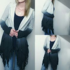 Billabong • Fringe Ombre Hoodie Cardigan Adorable open-hanging cardigan features ombre dip dye starting with a very light grey and ending with a deep blue. Features cool, raw fringe along the bottom, pockets and a hood. You can roll the sleeves up and button them to stay. Raw, frayed hems at cuffs. Perfect for cool summer nights, great with denim. 60% Cotton 40% Polyester.  Great preloved condition with no rips, holes or stains. Does have piling but nothing extreme. As is.   No holds No…