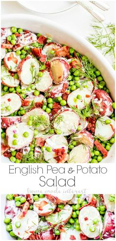 English Pea and Potato Salad is a light, fresh spring potato salad recipe with bright English peas, bacon, dill, and a creamy vinaigrette that is perfect side dish for Easter. This potato salad is filled with the fresh flavors of new potatoes, peas, and dill combined with Dijon mustard vinaigrette and smoky bacon. It also makes a great potluck recipe for summer parties. #easter #sidedish #potatosalad #potluck #homemadeinterest
