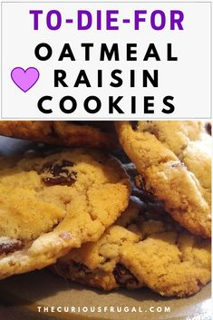These vegan oatmeal raisin cookies are the best oatmeal raisin cookies you will ever have. #cookies #oatmeal #vegan #easyrecipe #dessert Vegan Desserts, Dessert Recipes, Vegan Treats, Cookie Recipes, Delicious Desserts, Vegan Recipes, Vegan Oatmeal Raisin Cookies, Holiday Recipes, Frugal Recipes