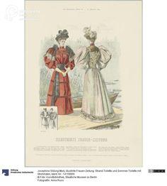 'Illustrirte Frauen-Zeitung', two women wearing beach-toilet and summer toilet with straw hats, 1894. Courtesy Anna Russ, Kunstbibliothek, Staatliche Museen zu Berlin, CC BY NC SA.