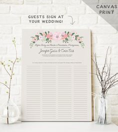 This Quaker marriage certificate or wedding certificate also acts as a guest book alternative. Have your guests all sign the canvas art at