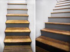 Exactly what we want to do with our stairs - black and white ombré with wooden steps! Messy Nessy Chic, Hardwood Stairs, Wooden Steps, House Stairs, Basement Stairs, Stair Risers, Painted Stairs, Mid Century House, The Ranch