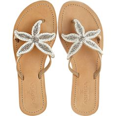 ASPIGA Starfish Beaded Sandal (€115) ❤ liked on Polyvore featuring shoes, sandals, flats, flip flops, women's shoes, beaded leather sandals, beaded sandals, leather sandals, starfish sandals and beaded flat shoes