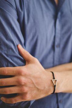 Silver triangle bracelet for men, mens bracelet with a black cord