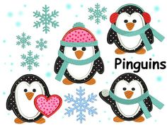 Stickdatei Stickdateien Pinguine Winter