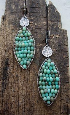 Exotic Peruvian Opal Mosaic Earrings. Opal Earrings.