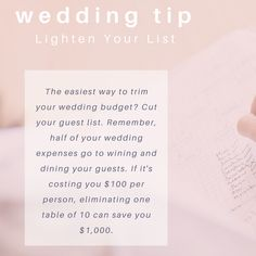 #WeddingWednesday Tip: Lighten Your List Find other wedding tips and tricks at: https://www.theknot.com/content/expert-wedding-planning-tips-and-tricks