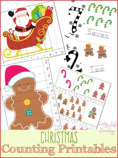 An adorable set of counting activities for your preschooler. Get into the holiday spirit with this fun Christmas counting printable for kids who are learning to count, make learning fun and exciting.  #Christmas #Preschool #counting #homeschool #homeschooling