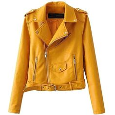 Froomer Women's Zipper Faux Leather Motorcycle Biker Short Coat Jacket ($33) ❤ liked on Polyvore featuring outerwear, jackets, zip jacket, motorcycle biker jacket, faux leather biker jacket, faux-leather jacket and yellow jacket