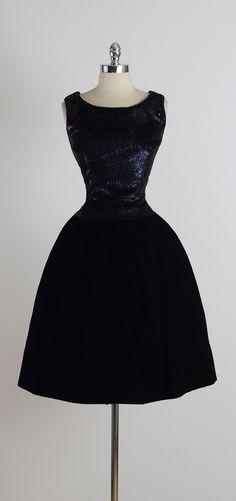 Vintage 1950s Suzy Perette Black Velvet