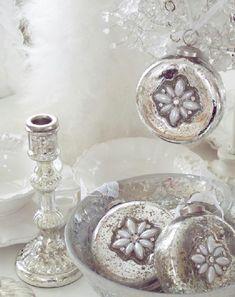 MERCURY GLASS CHRISTMAS TREE ORNAMENT PEARL FLOWER RHINESTONE SHINY SILVER