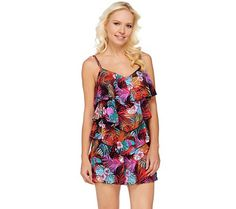 Make waves in this Fit 4 U romper swimsuit that provides the comfort and coverage you crave. The customer-favorite silhouette accentuates the positive with an updated V-neckline and a flirty, V-shaped tier design that's cleverly cut to help camouflage the hip area. And thanks to the adjustable straps and full panty attached underneath, you can take off that cover-up with confidence. <br><br>Enjoy your time off to the fullest with this figure-flattering, one-piece swimsuit that's perfectly…