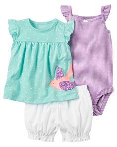 Simple Joys by Carters Baby Girls 3-Piece Playwear Set Mint//Purple Kitty 0-3 Months